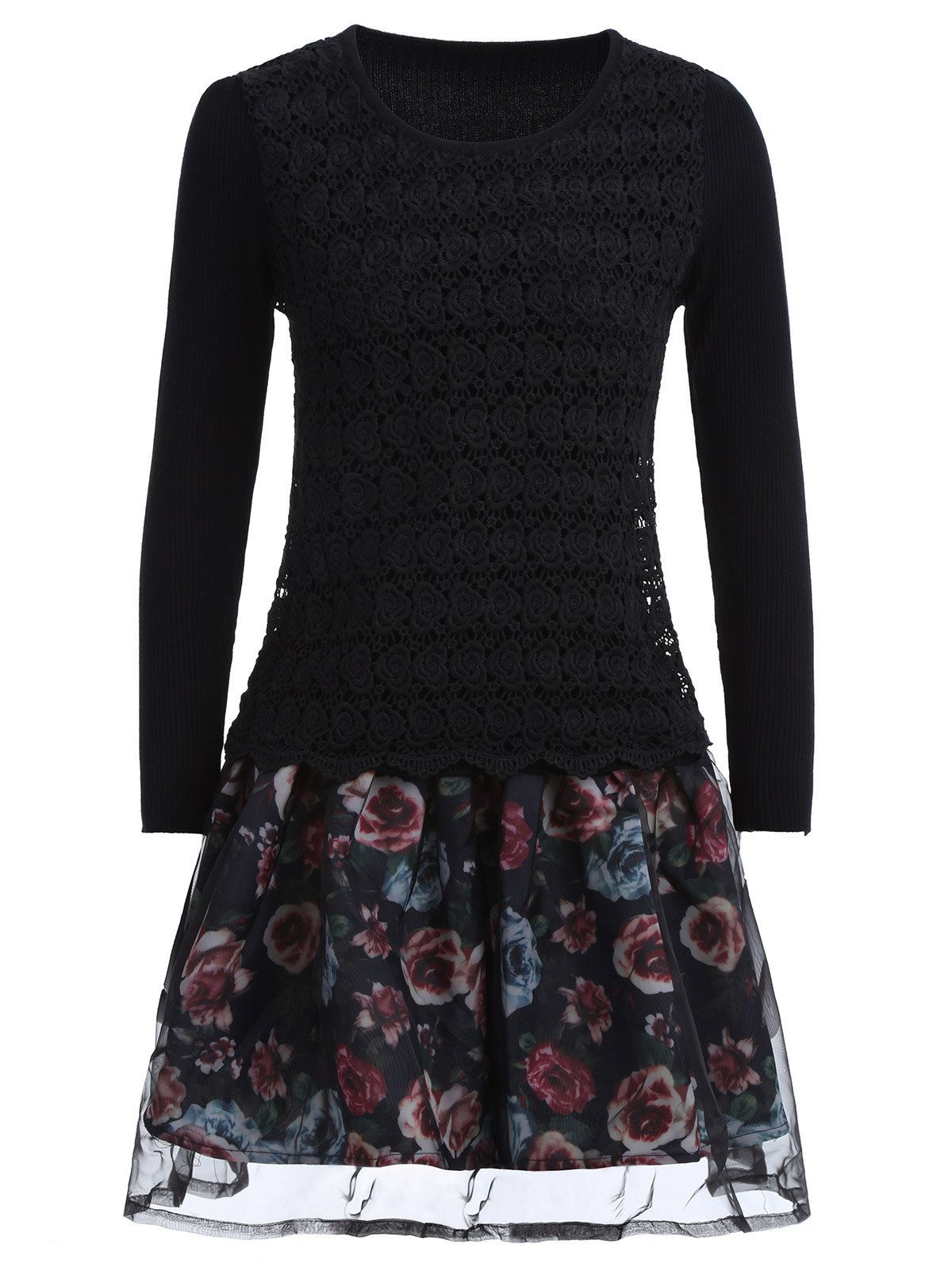 Organza Spliced Floral Layered Sweater Skater Dress - BLACK ONE SIZE