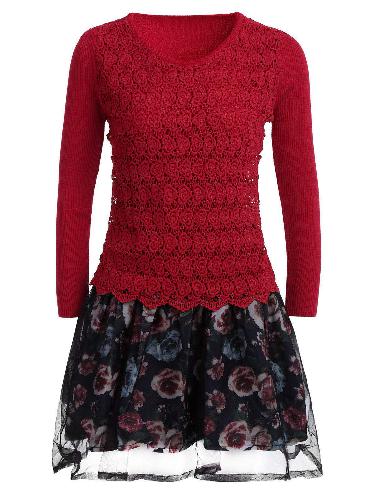 Organza Spliced Floral Layered Sweater Skater Dress - RED ONE SIZE