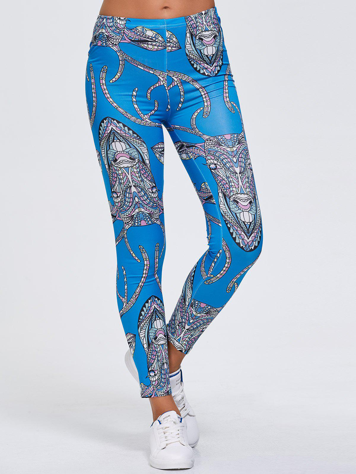 Buy Abstract Animal Print Stretchy Leggings BLUE