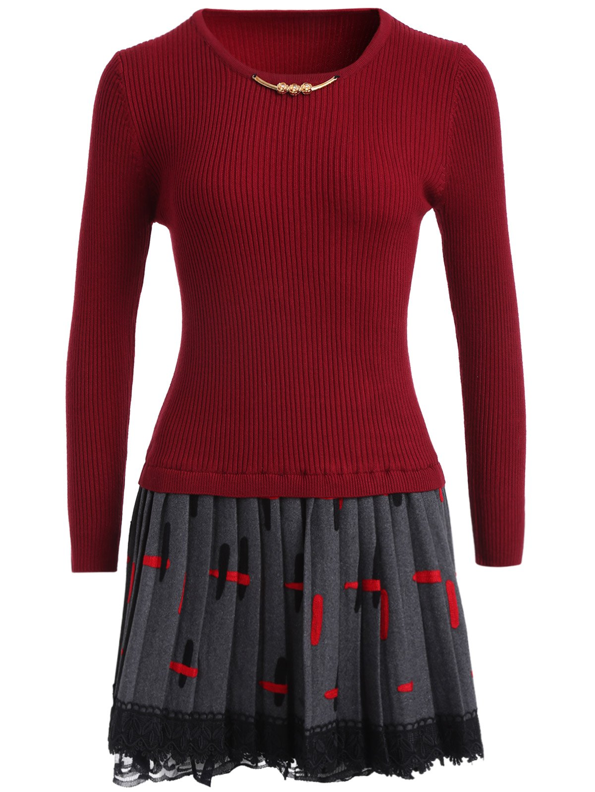 Lace Trim Pleated Knitted Dress - DEEP RED ONE SIZE