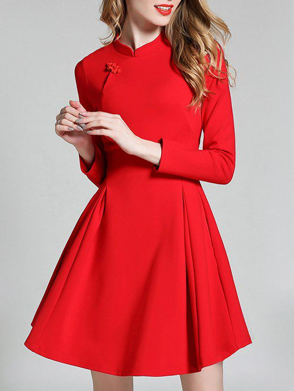 Long Sleeve Mini Qipao Skater Dress - RED S