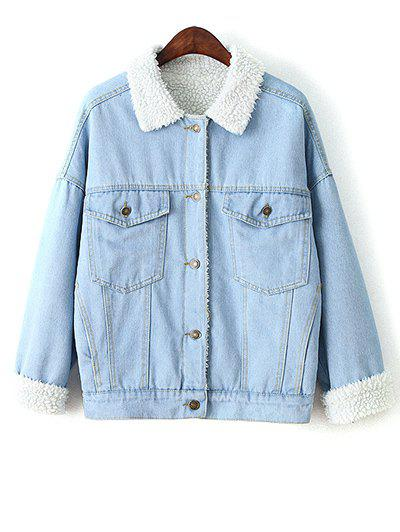 Faux Shearling Jean Coat - LIGHT BLUE L