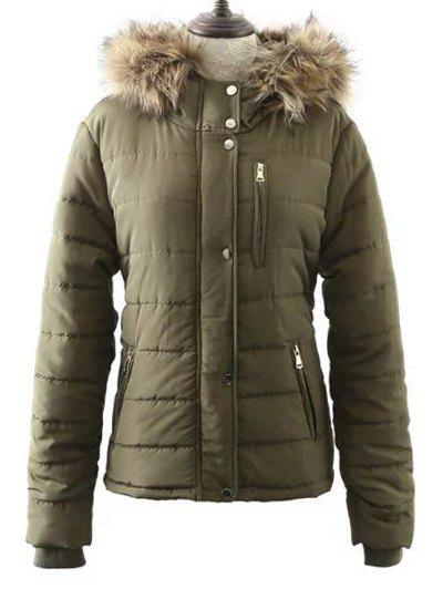 Buy Fur Hooded Zipper Pocket Padded Coat ARMY GREEN