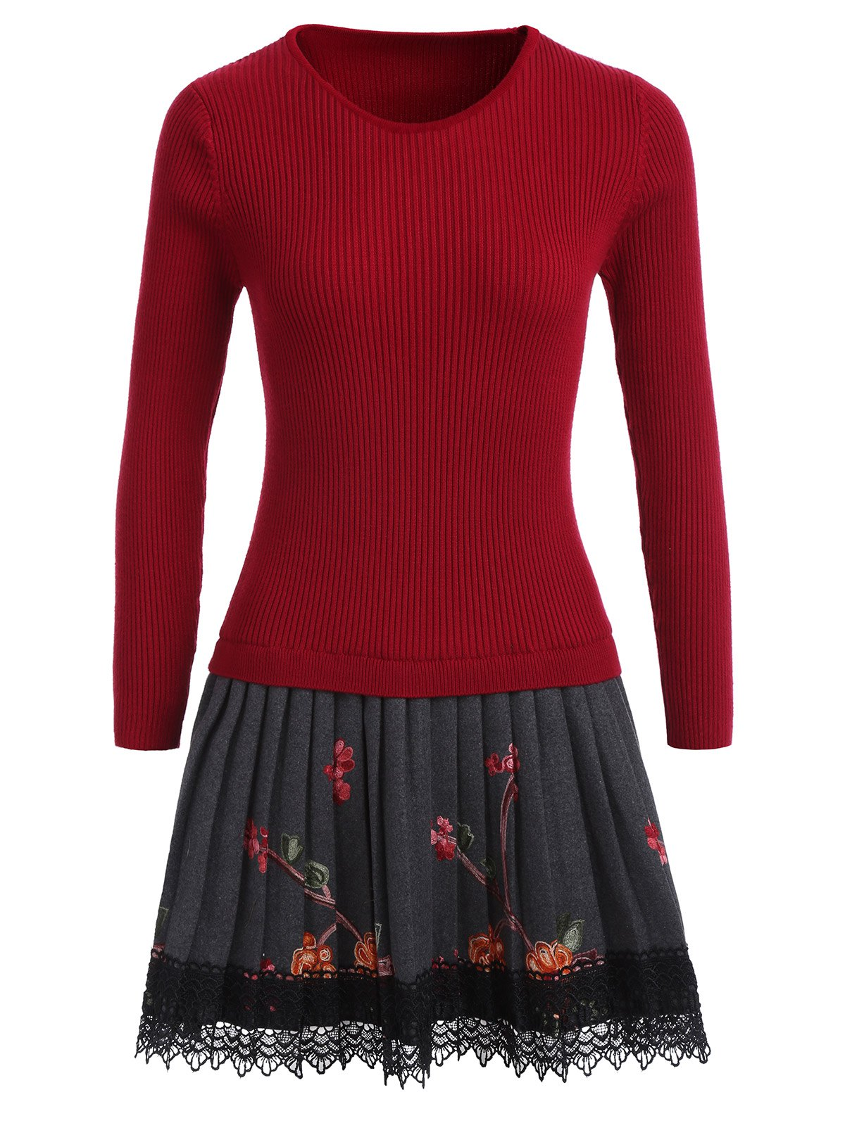 Floral Pleated Knitted Dress - RED ONE SIZE