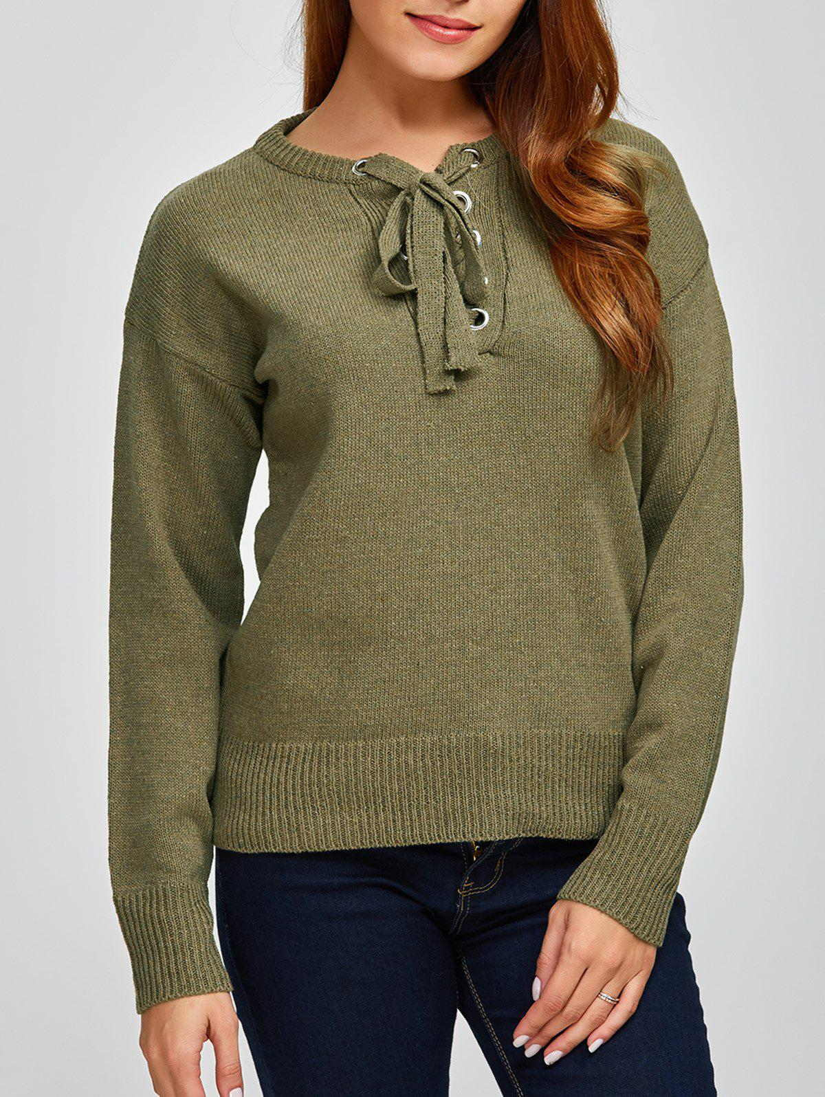 Lace-Up Loose Casual Sweater - ARMY GREEN ONE SIZE