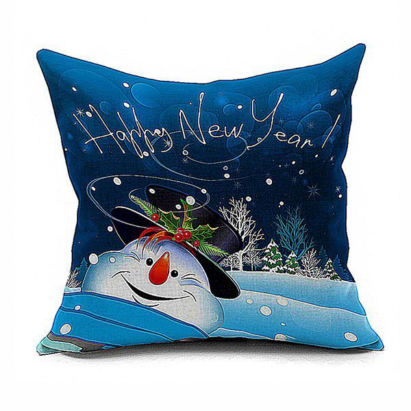 Christmas Snowman Pattern Home Throw Pillow Case merry christmas peaceful night cushion throw pillow cover