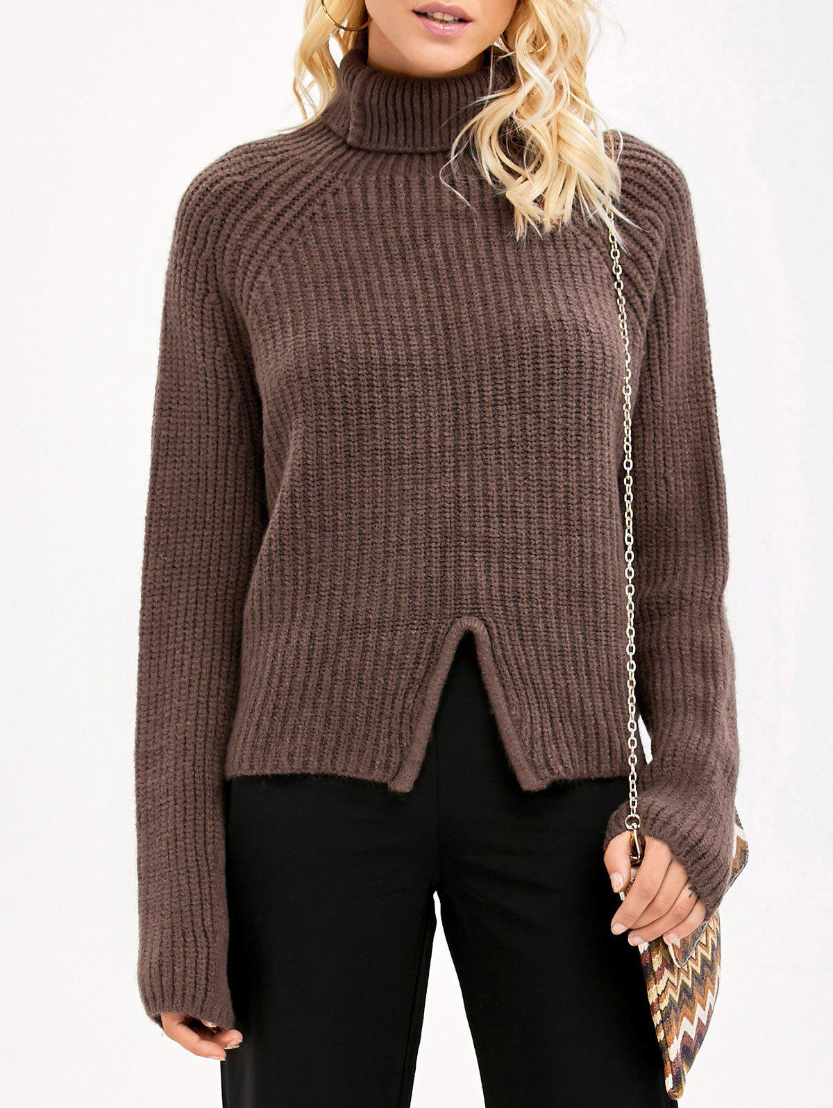 Front Slit Sweater front slit long knit sweater