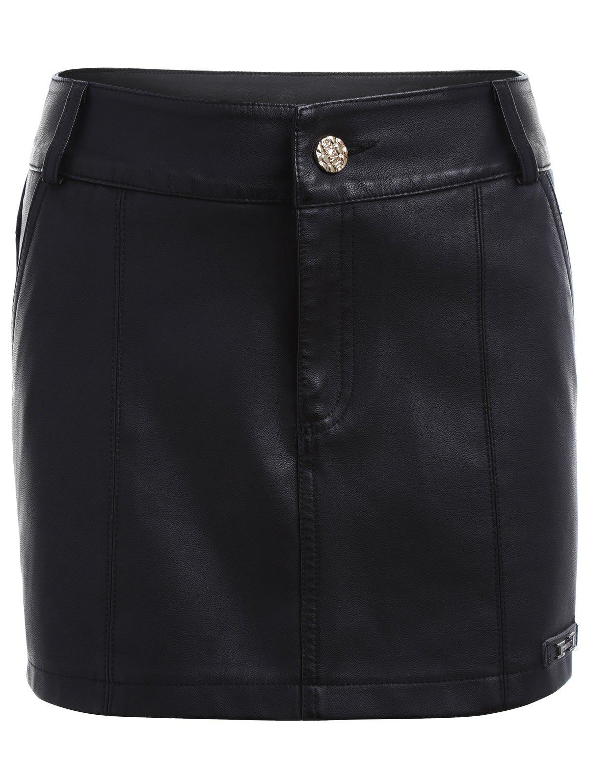 Faux Leather Skirted Shorts - BLACK 2XL