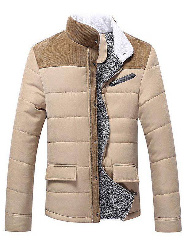 Corduroy Insert Plush Lining Zip Up Jacket pu leather and corduroy spliced zip up down jacket