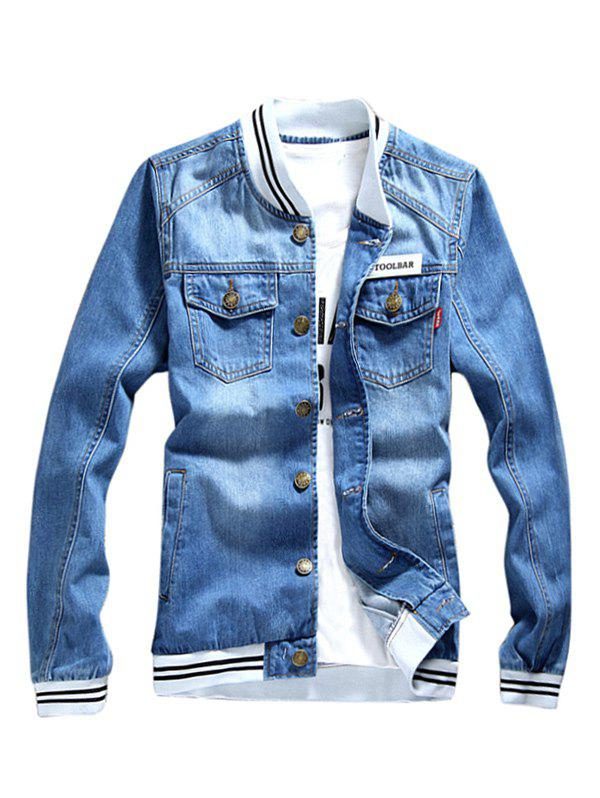 Button Up Varsity Striped Insert Denim Jacket jd коллекция дефолт moonlight серебро