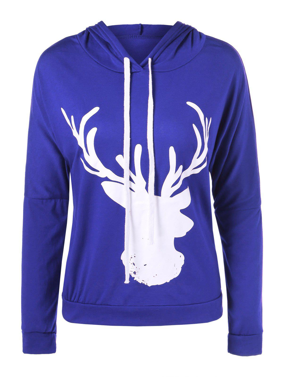 Hooded Christmas Fawn HoodieWomen<br><br><br>Size: M<br>Color: BLUE