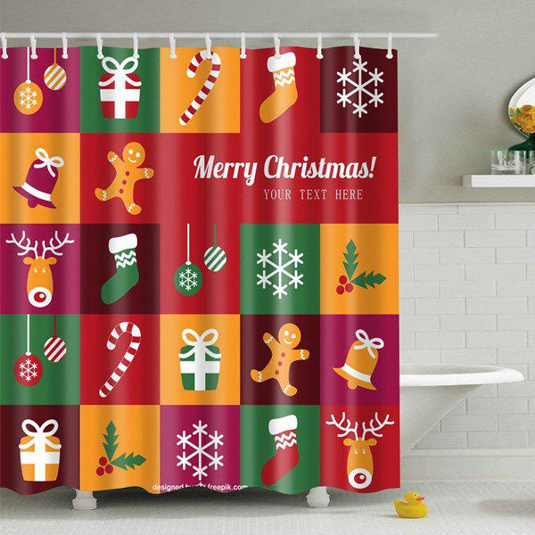 Christmas Plaid Printed Bathroom Waterproof Shower Curtain - COLORMIX S