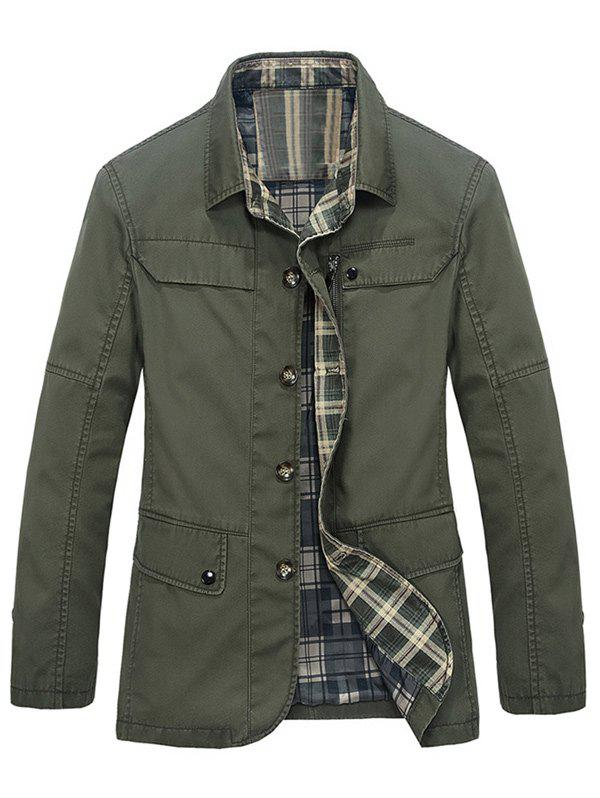 Pocket Plaid Lining Button Up Jacket - ARMY GREEN M