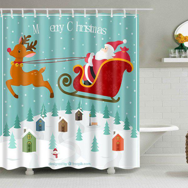 Christmas Santa Elk Printed Bath Waterproof Shower Curtain - COLORMIX S