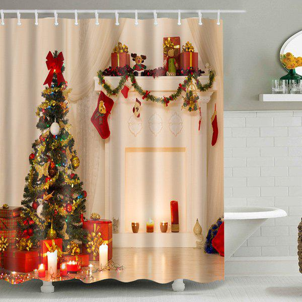 Xmas Tree Printed Christmas Waterproof Shower Curtain 3 4