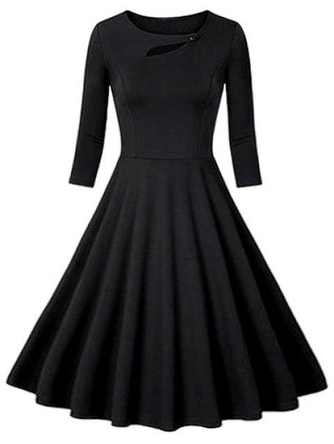 Flounce Fit and Flare Vintage Dress - BLACK M