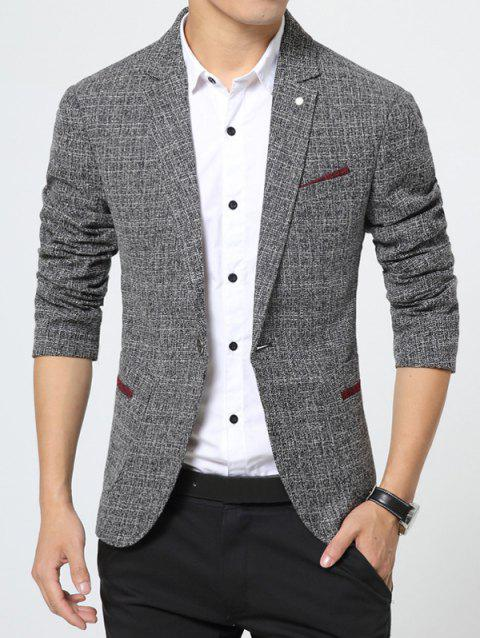 Pocket Notch Lapel Texture One Button Blazer - GRAY M