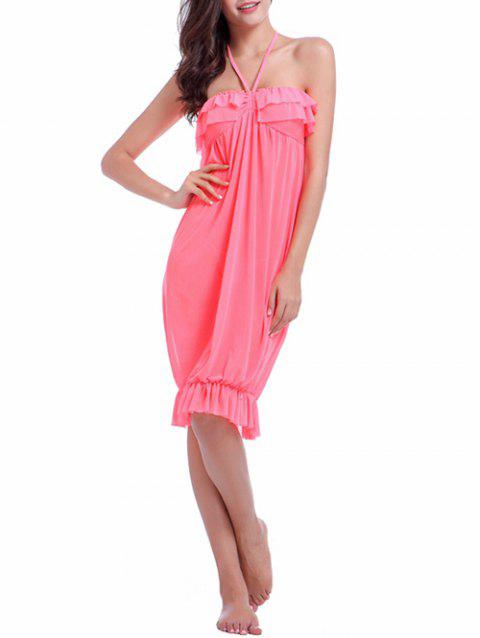 Halter Flounced Cover Up Dress - SHALLOW PINK S