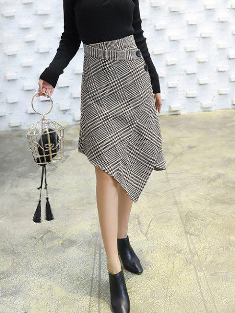 f40262b893 41% OFF] 2019 High Waisted Houndstooth Asymmetric Skirt In GRAY ...