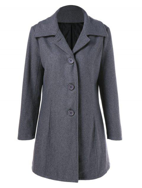 Manteau en laine simple boutonnage poches - Gris M