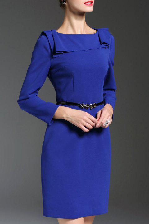 Boat Neck Belted Fitted Work Dress - BLUE M