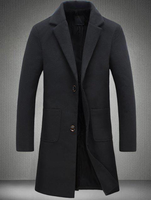 Plain Pocket Two Button Wool Blend Coat - BLACK 4XL