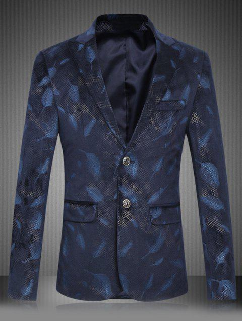 Plus Size Feather Print Lapel Single Breasted Design Blazer - DEEP BLUE 2XL