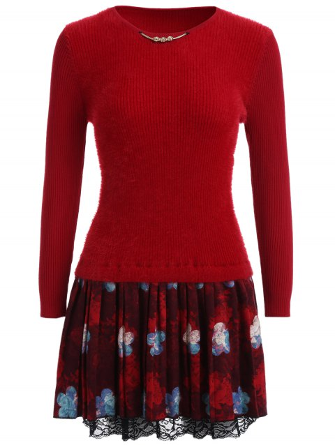 Pull-robe manches longues patchwork en dentelle - Rouge ONE SIZE