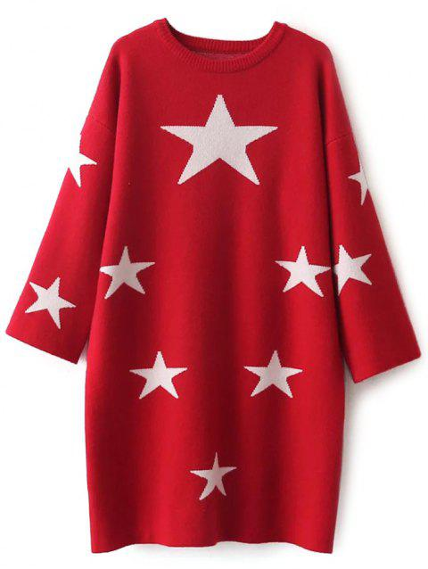 Star Jacquard Casual Jumper Dress - RED ONE SIZE