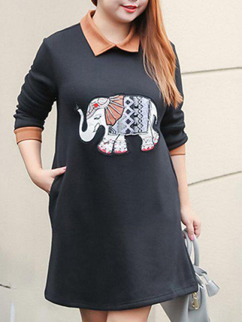 Plus Size Elephant Beaded A Line Dress With Pocket - BLACK 2XL