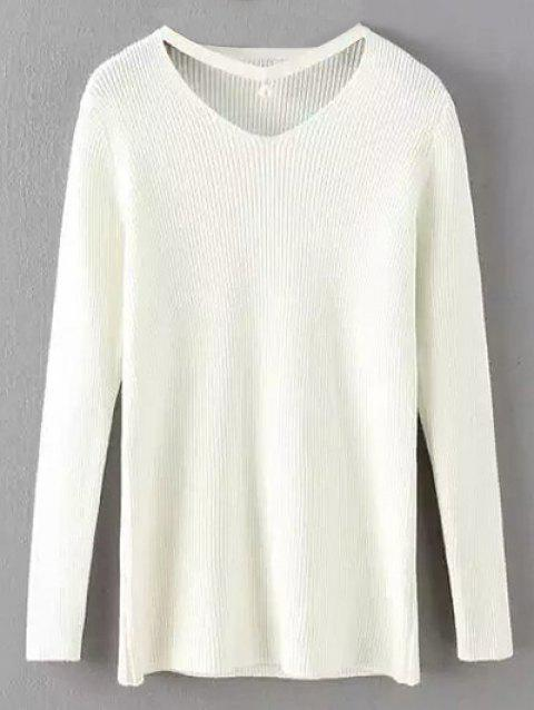 Choker Ribbed Jumper - WHITE ONE SIZE