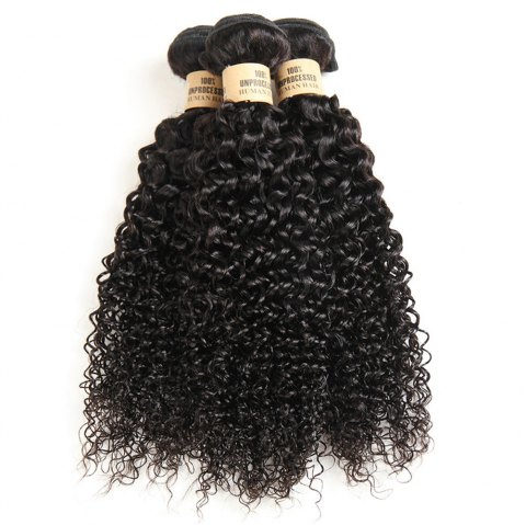 1 Pc/Lot Kinky Curly 5A Remy Brazilian Hair Weave - BLACK 14INCH