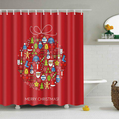 Merry Christmas Waterproof Fabric Bathroom Curtain - RED M