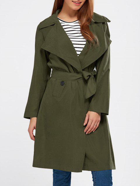 Lapel Wrap Back Slit Long Trench Coat - ARMY GREEN L