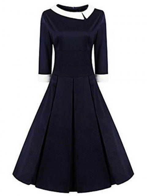 High Waisted Fit and Flare Vintage Dress - PURPLISH BLUE S