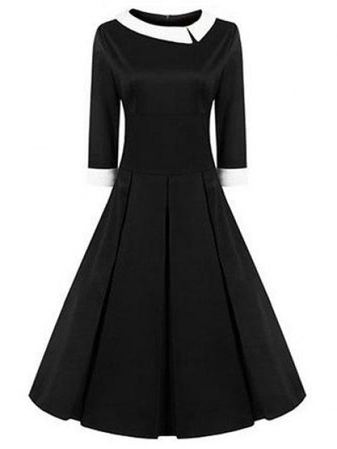 High Waisted Fit and Flare Vintage Dress - BLACK S