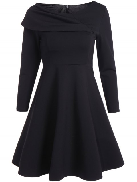Vintage Mini Flare Dress - BLACK S
