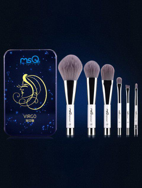 6 Pcs Virgo Magnetic Makeup Brushes Set with Iron Box - BLUE