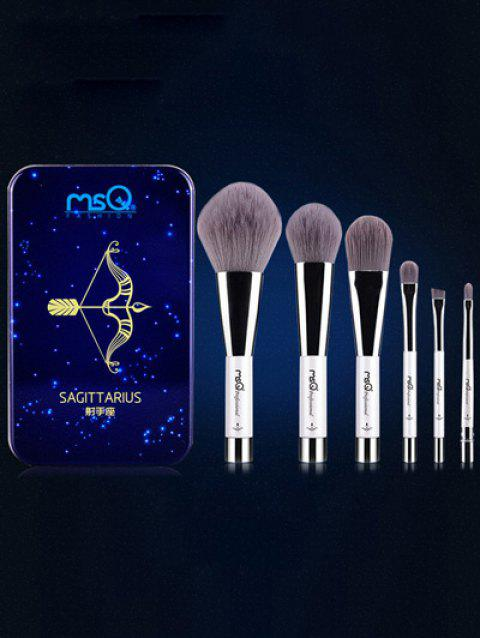 6 Pcs Sagittarius Magnetic Makeup Brushes Set with Iron Box - BLUE