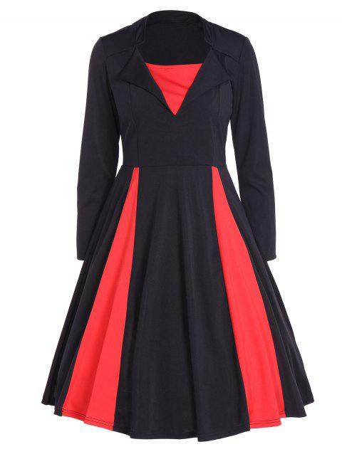 Vintage Color Block Long Sleeve Pin Up Dress - BLACK XL