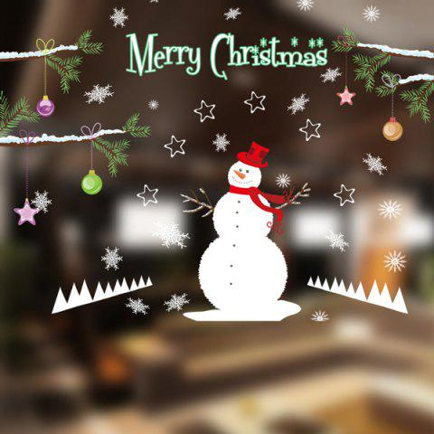 Merry Christmas DIY Snowman Pattern Removable Wall Stickers - WHITE