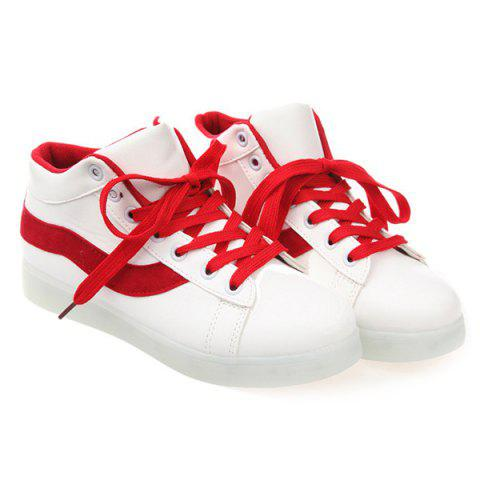 Lace Up Luminous Sneakers - Rouge 42
