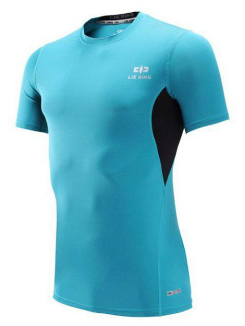 Color Block Spliced Short Sleeve Quick Dry Fitness T-Shirt - SKY BLUE XL