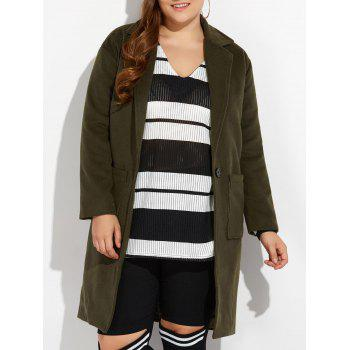 Plus Size Long Wool Coat with Pockets