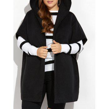 Hooded Open Front Wool Cape Coat