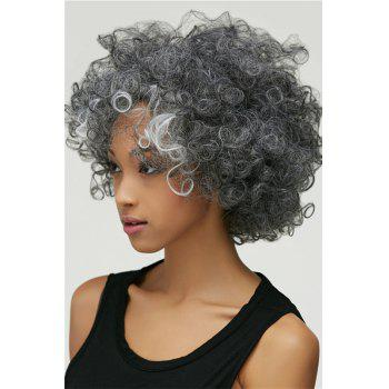 Gracefully Women's Short Afro Curly Grey Silver Synthetic Hair Wig - COLORMIX