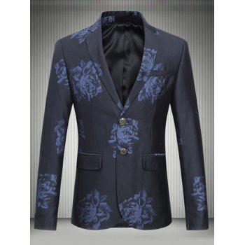 Flower Print Lapel Single Breasted Design Blazer