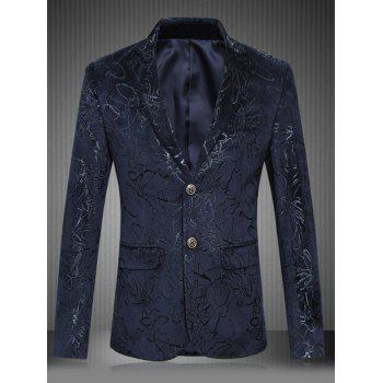 Buy Plus Size Floral Print Lapel Single Breasted Design Blazer CADETBLUE