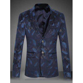 Plus Size Feather Print Lapel Single Breasted Design Blazer