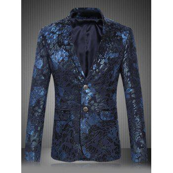 Plus Size Floral Printed Lapel Single Breasted Design Blazer